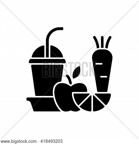Fresh Juice To Go Black Glyph Icon. Fruit And Vegetable Smoothies. Balanced Diet. Meal Replacement.