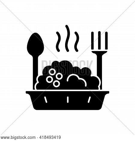 Takeaway Porridge Bowl Black Glyph Icon. Balanced, Filling Breakfast. Takeout Oat Cuisine. Carbohydr