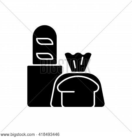 Fresh Bread Takeout Black Glyph Icon. Bakery Products. Pastries. Bread Loaves, Baguettes, Toasts. Ba