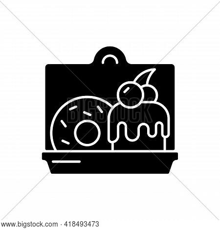 Cakes And Desserts Takeout Black Glyph Icon. Confections Delivery. Sweet Baked Food. Cookies, Pastri