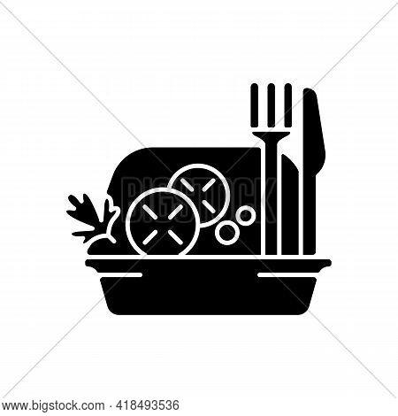 Takeaway Salads Black Glyph Icon. Healthy Food Delivery. Green, Seafood, Meat Salad. Raw Greens, Veg