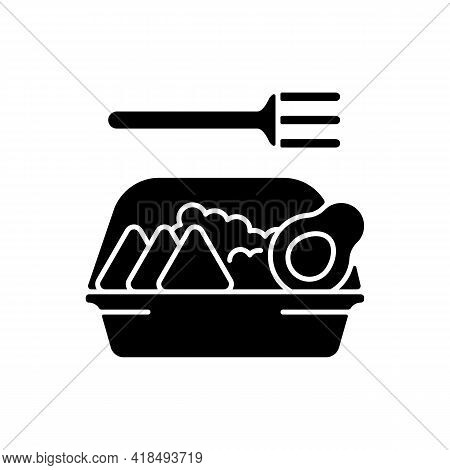 Family-style Meals Takeout Black Glyph Icon. Dinner For Parents And Kids. Family-sized Portions. Del