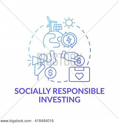 Socially Responsible Investing Concept Icon. Wealth Advisory Idea Thin Line Illustration. Making Pos