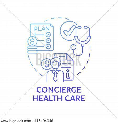 Concierge Healthcare Concept Icon. Wealth Advisory Idea Thin Line Illustration. Health Insurance. Co