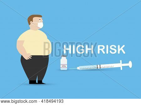 Vector Illustration Of Obese Adult Man And Bottle Of Covid-19 Vaccine, Syringe And Needle. Obesity I