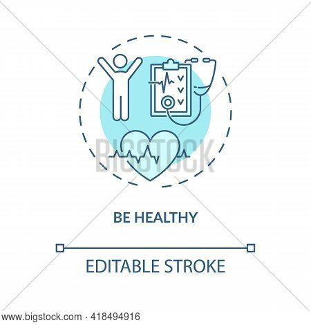 Be Healthy Concept Icon. Healthy Lifestyle Idea Thin Line Illustration. Be More Active. Self Care Ti