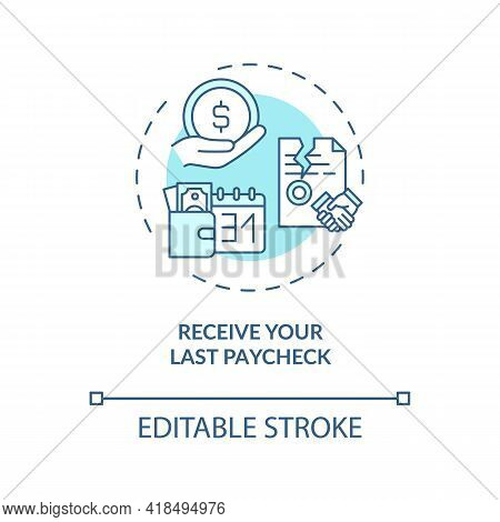 Receive Your Last Paycheck Concept Icon. Get Care About Your Finance Idea Thin Line Illustration. La