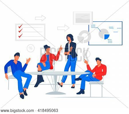 Business Meeting Scene With People Chatting In Conference Room Around Table. Brainstorming Team Or B