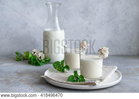 Homemade Yogurt Drink- Ayran, Kefir, Lassi, On A Gray Background. Healthy Summer Refreshing Chilled