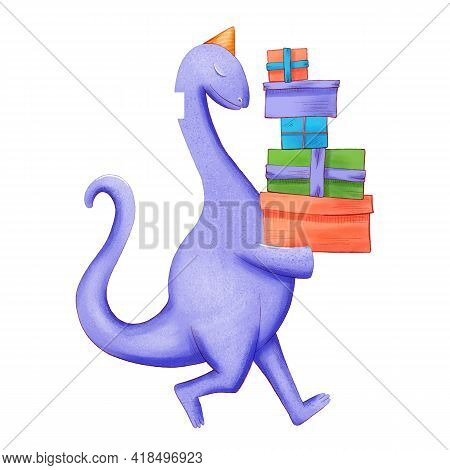 Dinosaur Baby Boy Cute Print. Sweet Dino. Dino Illustration For Nursery T-shirt, Kids Apparel, Invit