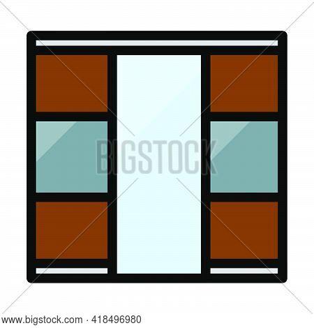 Wardrobe Closet Icon. Editable Bold Outline With Color Fill Design. Vector Illustration.