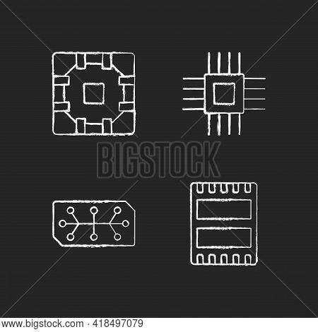 Microcircuits Chalk White Icons Set On Black Background. Computer Device Ports. Stable Connection Be