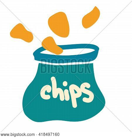 Package With Chips In Cartoon Style. Chips Are Spilled Out Of The Bag Potato Chips. Icon For Food An