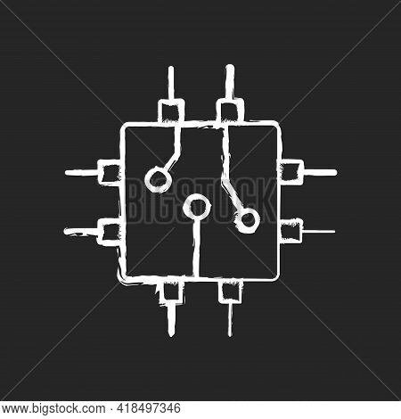 Circuit Board Design Chalk White Icon On Black Background. Create Plan How To Place All Microprocess