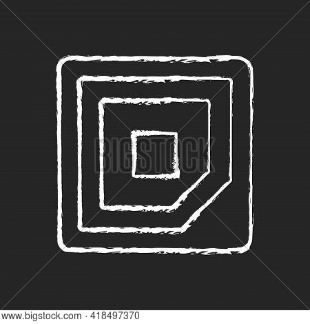 Cpu Corner Mark Chalk White Icon On Black Background. Showing In Which Direction Microchip Should Be