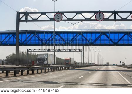 Interstate Highway Ufa - Kazan M7, Russia - Apr 23th 2021. The Aquiduct Is Blue On The Main Road, Th