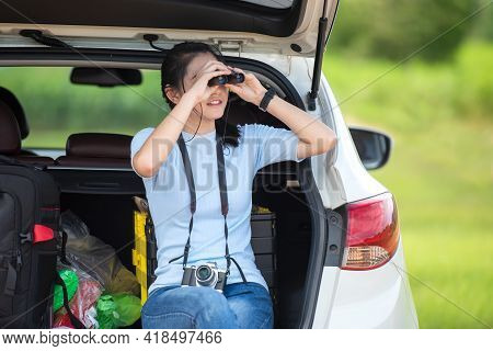 People Young Woman Traveler And Tourism Go To Trips Travel On Hatchback Car To Destination Leisure T