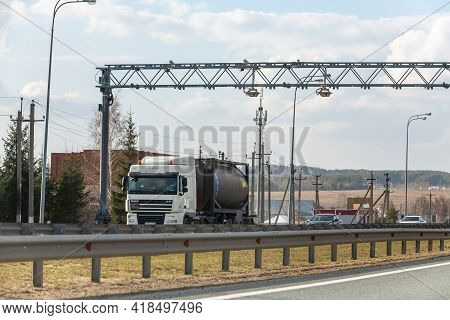Interstate Highway Ufa - Kazan M7, Russia - Apr 23th 2021. Automatic Speed Camera Car Or Traffic. Co