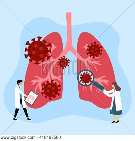 Doctor Checking Human Respiratory System. Lungs With Virus Cells In Flat Design. Coronavirus Pneumon