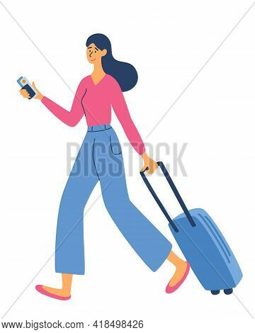 Young Woman With A Luggage Bag. Time To Travel. Recreation And Tourism. Journey. Business Topics -bu