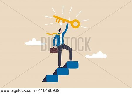 Key To Business Success, Stairway To Find Secret Key Or Achieve Career Target Concept, Businessman W