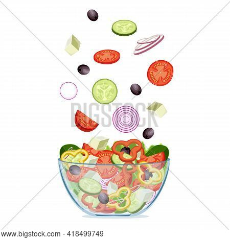 Fresh Greek Salad With Greek Olives, Cucumbers, Tomatoes, Onion, Feta Cheese. Vegetarian Salad In A