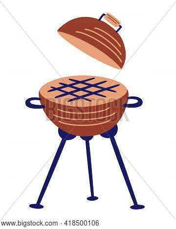 Cartoon Round Barbeque Grill Icon. Bbq Grill Symbol. Cooking Outside. Device For Grilling Food. Stre