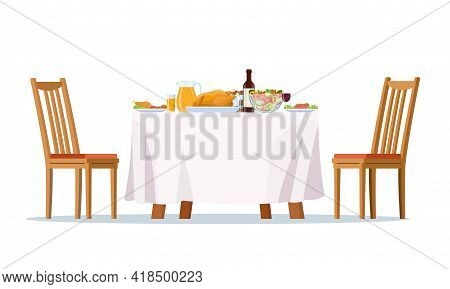Table Laid, Festive Dinner Food Dishes, Drinks And Chairs. Family Dining Room And Restaurant Laid Ta