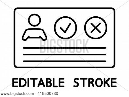 Personal Medical Card With Check Mark. Outline Icon Card For Different Purpose. Immune Certificate.