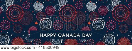 Happy Canada Day Poster. 1st July. Vector Illustration Greeting Card. Canada Maple Leaves On White B
