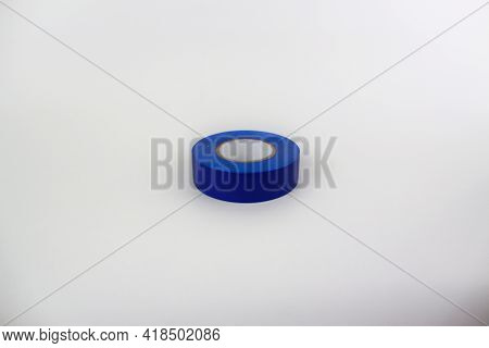 Dark Blue Insulating Tape Isolated On White Background