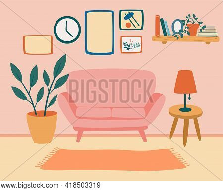 Comfortable Living Room With Sofa. Living Room Interior With Furniture, Houseplants And Home Decorat