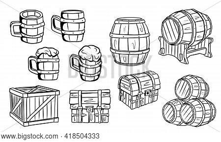 Wooden Barrels, Chests, Beer Or Ale Mugs. Wooden Crafts. Box. Barrels For Wine. Vector Illustration