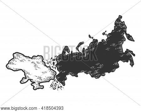 Conflict Between Russia And Ukraine. Sketch Scratch Board Imitation.