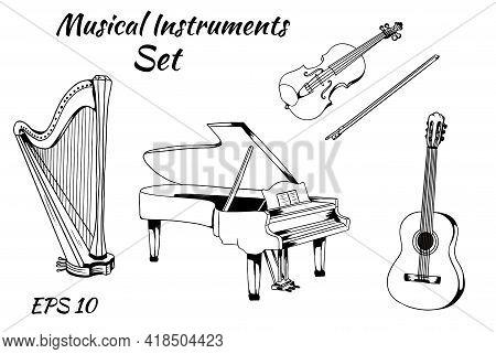 Vector Set Of Musical Instruments. Stringed Instruments Set Piano Harp Violin Guitar Vector Stickers
