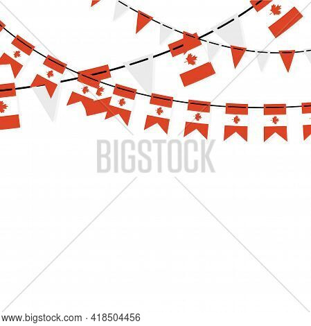 Garland Banner In The Colors Of Canada. Canadian Buntings, Garlands, Flags Set Isolated On White Bac