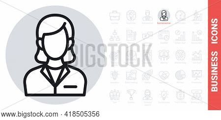 Business Woman Or Business Lady Icon. Woman In A Strict Business Suit. Simple Black And White Versio