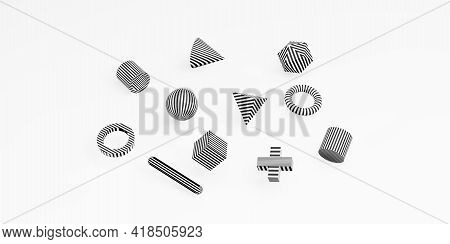 Abstract 3d Geometric Shapes Simple Background With Cubes Minimal Style 3d Illustration