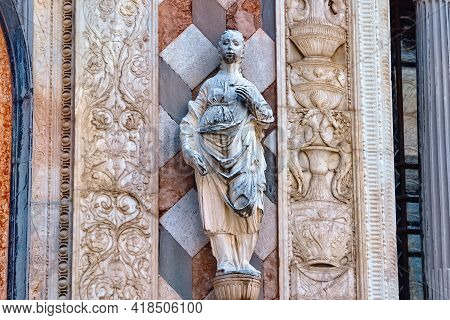 Facade Sculptures Of The Cappella Colleoni (was Built With Marble Elements Between 1472 And 1476) Of