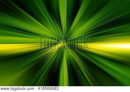 Abstract Radial Zoom Blur Surface Of Dark Green, Light Green And Yellow Tones. Abstract Dark Green