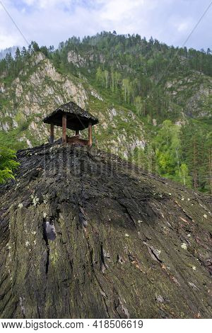 Picturesque Viewing Gazebo On The Top Of A Cliff In The Gorny Altai;