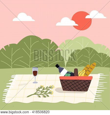 A Picnic Concept In A City Park In The Summer Or Spring. Basket And Picnic Blanket On The Background