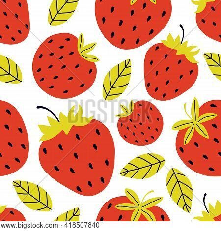 Seamless Pattern Of Juicy Red Strawberries On A White Background. Whole And Half Sweet Berries. Summ
