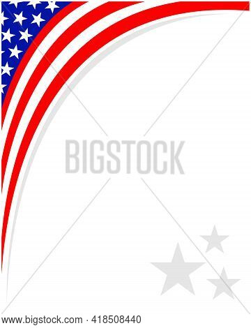 Abstract Usa Flag Corner Border Frame With Empty Space For Your Text.