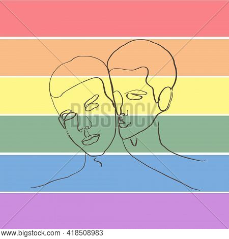 Two Young Lgbt People. Illustration In Lineart Style Two Men Hug Each Other