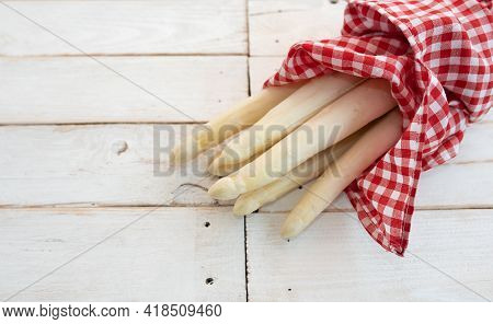 Fresh White Asparagus In Red Checkered Cloth Wrapped On Bright Vintage Wood. Seasonal Food Photograp