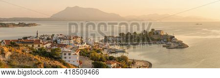 Panorama of the Datca harbour at sunrise, Mugla province, Turkey. Datca is popular tourist destination in Turkey