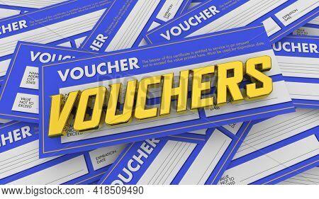 Voucher Pile Many Certificate Credit Money Gift Value Documents 3d Illustration