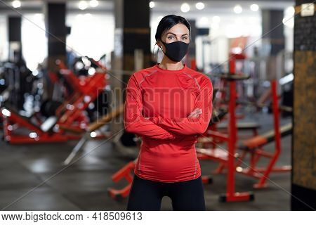 Coronavirus Covid-19 Prevention, Fitness Girl With A Medical Mas