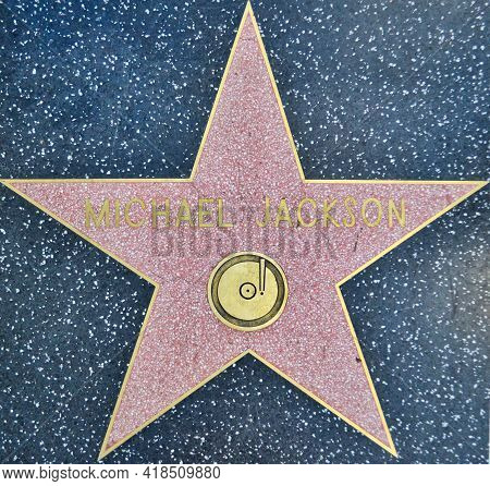 Los Angeles, United States, November 2013: Michael Jackson Star On The Walk Of Fame, Hollywood Boule